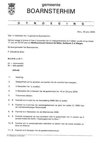 Boarnsterhim vergaderstukken gemeenteraad  2006-07-11