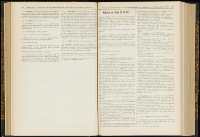 Raadsverslagen van de gemeente Leeuwarden, 1865-2007 (Notulen) 1921-07-12