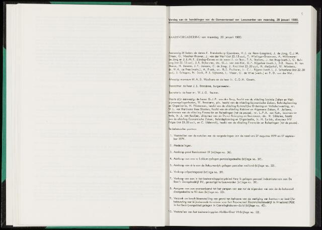 Raadsverslagen van de gemeente Leeuwarden, 1865-2007 (Notulen) 1980-01-28