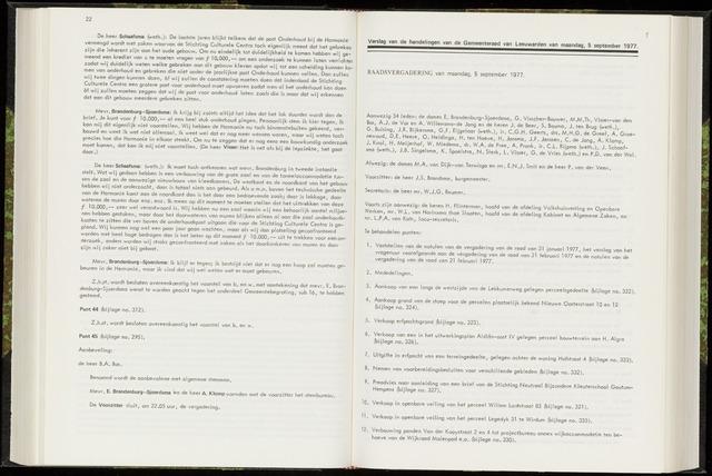 Raadsverslagen van de gemeente Leeuwarden, 1865-2007 (Notulen) 1977-09-05