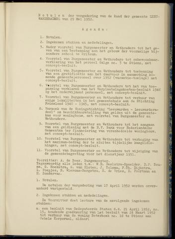 Notulen van de gemeenteraad van Leeuwarderadeel 1952-05-29