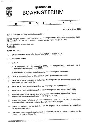 Boarnsterhim vergaderstukken gemeenteraad  2001-11-13