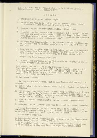 Notulen van de gemeenteraad van Leeuwarderadeel 1955-02-02