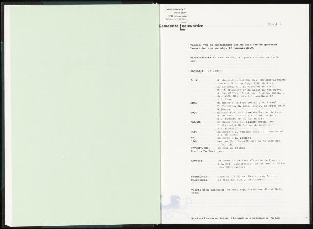 Raadsverslagen van de gemeente Leeuwarden, 1865-2007 (Notulen) 2000