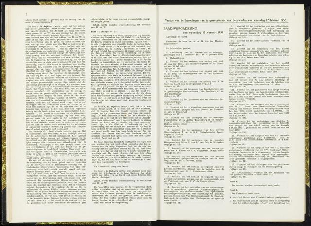 Raadsverslagen van de gemeente Leeuwarden, 1865-2007 (Notulen) 1958-02-12