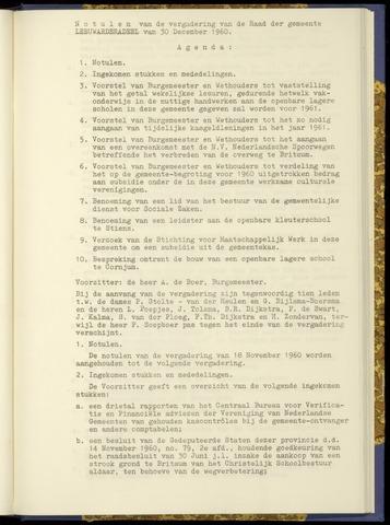 Notulen van de gemeenteraad van Leeuwarderadeel 1960-12-30