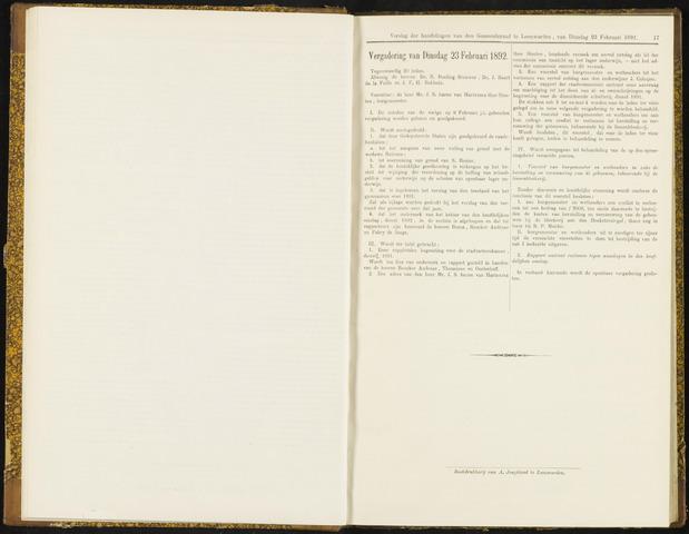 Raadsverslagen van de gemeente Leeuwarden, 1865-2007 (Notulen) 1892-02-23