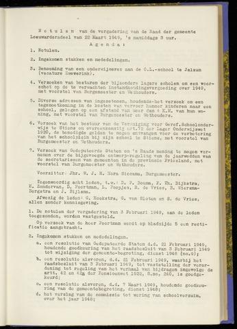 Notulen van de gemeenteraad van Leeuwarderadeel 1949-03-22