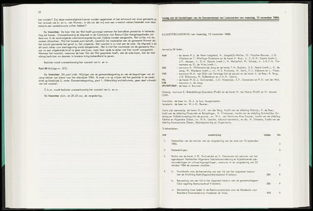 Raadsverslagen van de gemeente Leeuwarden, 1865-2007 (Notulen) 1984-11-12
