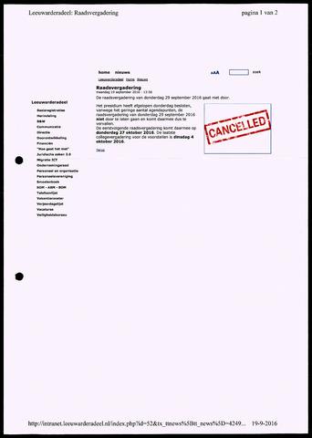 Notulen van de gemeenteraad van Leeuwarderadeel 2016-09-19