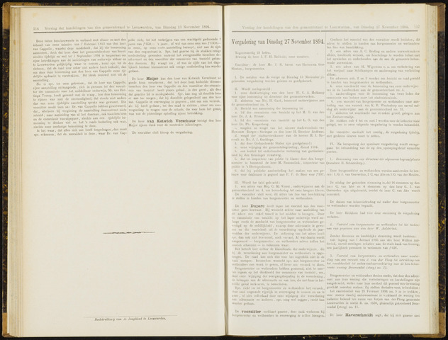 Raadsverslagen van de gemeente Leeuwarden, 1865-2007 (Notulen) 1894-11-27