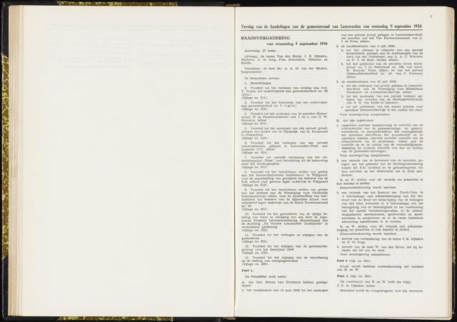 Raadsverslagen van de gemeente Leeuwarden, 1865-2007 (Notulen) 1956-09-05
