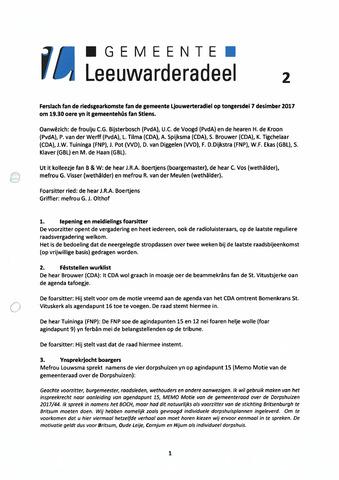 Notulen van de gemeenteraad van Leeuwarderadeel 2017-12-21
