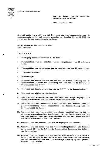 Boarnsterhim vergaderstukken gemeenteraad  1991-04-16