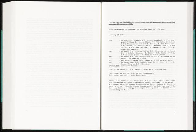 Raadsverslagen van de gemeente Leeuwarden, 1865-2007 (Notulen) 1990-11-19