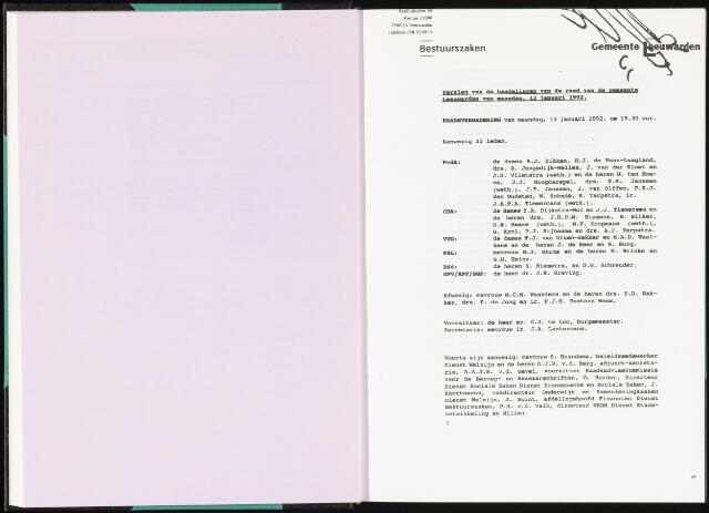Raadsverslagen van de gemeente Leeuwarden, 1865-2007 (Notulen) 1992