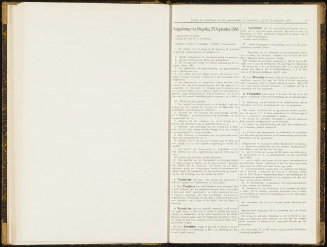 Raadsverslagen van de gemeente Leeuwarden, 1865-2007 (Notulen) 1888-09-25