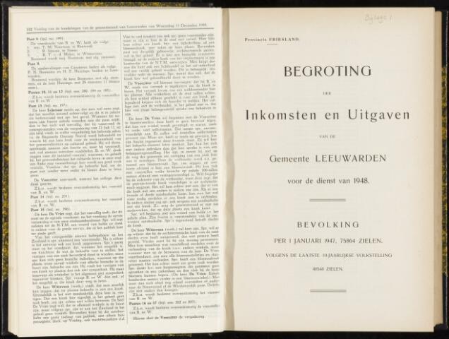 Raadsverslagen van de gemeente Leeuwarden, 1865-2007 (Bijlagen) 1948-01-01