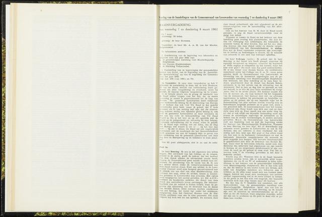 Raadsverslagen van de gemeente Leeuwarden, 1865-2007 (Notulen) 1962-03-07
