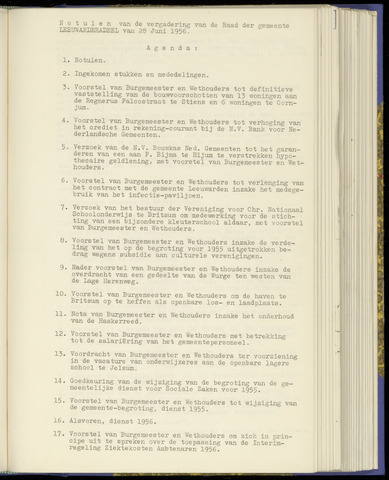 Notulen van de gemeenteraad van Leeuwarderadeel 1956-06-28
