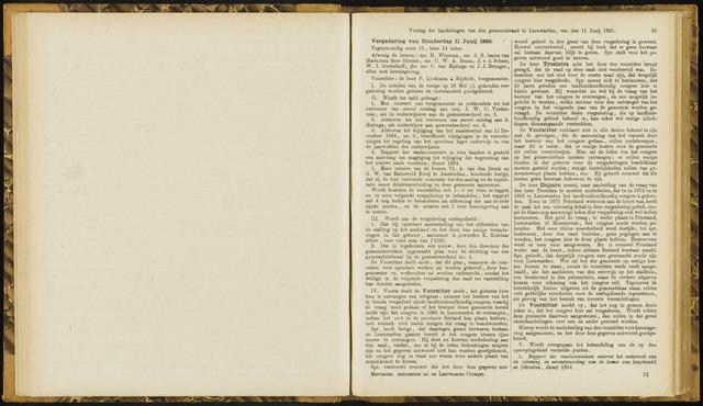 Raadsverslagen van de gemeente Leeuwarden, 1865-2007 (Notulen) 1885-06-11