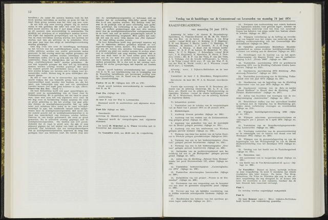 Raadsverslagen van de gemeente Leeuwarden, 1865-2007 (Notulen) 1974-06-24
