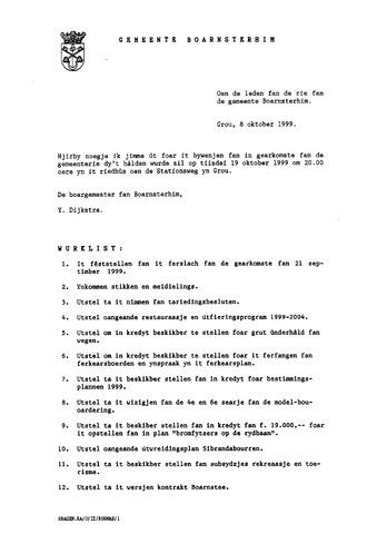 Boarnsterhim vergaderstukken gemeenteraad  1999-10-19
