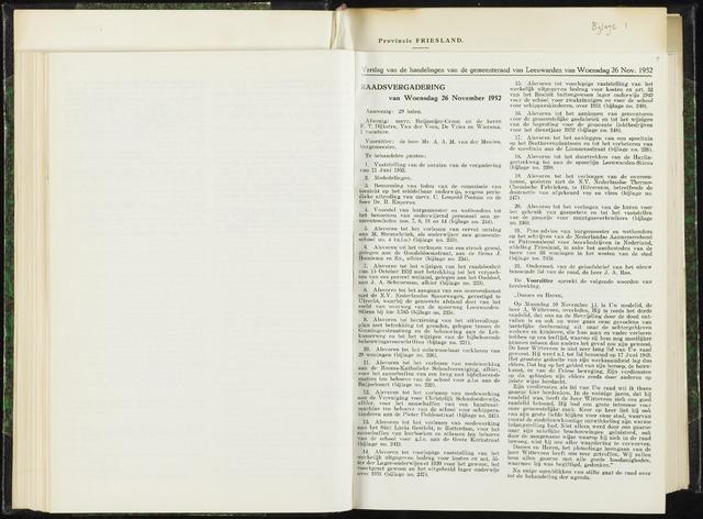 Raadsverslagen van de gemeente Leeuwarden, 1865-2007 (Notulen) 1952-11-26