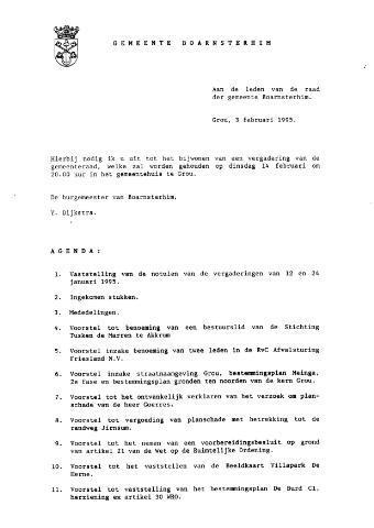 Boarnsterhim vergaderstukken gemeenteraad  1995-02-14
