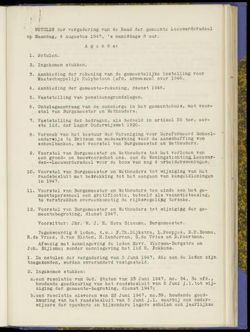 Notulen van de gemeenteraad van Leeuwarderadeel 1947-08-04
