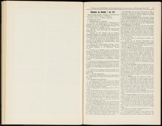 Raadsverslagen van de gemeente Leeuwarden, 1865-2007 (Notulen) 1939-06-07