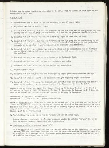 Notulen van de gemeenteraad van Leeuwarderadeel 1974-04-25