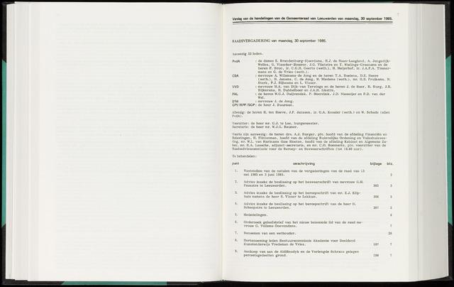 Raadsverslagen van de gemeente Leeuwarden, 1865-2007 (Notulen) 1985-09-30
