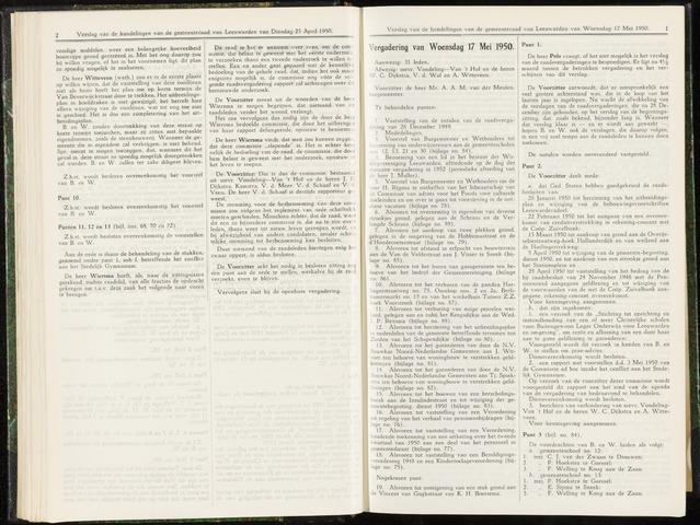 Raadsverslagen van de gemeente Leeuwarden, 1865-2007 (Notulen) 1950-05-17