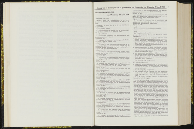 Raadsverslagen van de gemeente Leeuwarden, 1865-2007 (Notulen) 1954-04-22