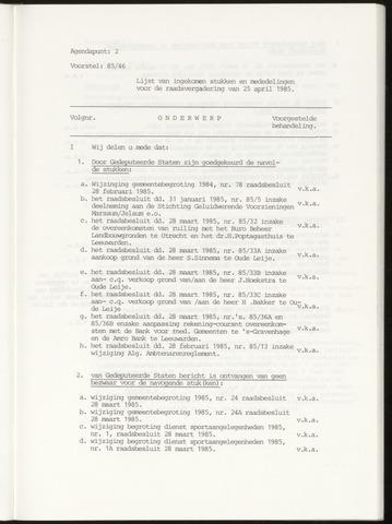 Notulen van de gemeenteraad van Leeuwarderadeel 1985-05-01