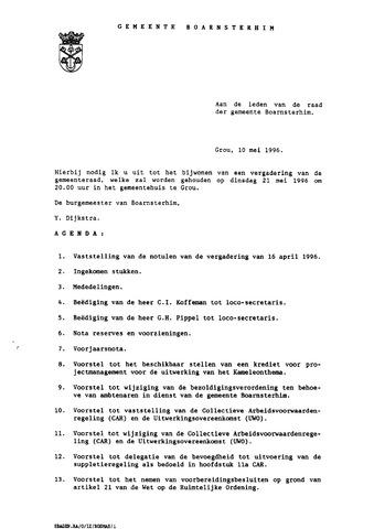 Boarnsterhim vergaderstukken gemeenteraad  1996-05-21