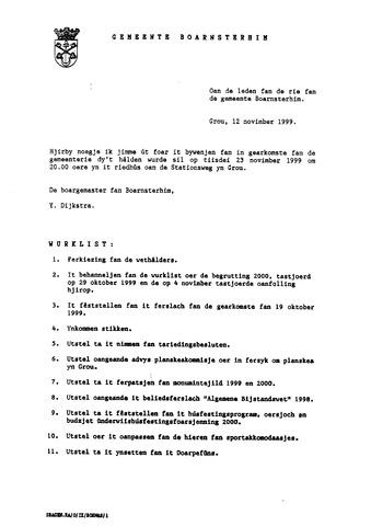 Boarnsterhim vergaderstukken gemeenteraad  1999-11-23