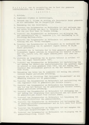 Notulen van de gemeenteraad van Leeuwarderadeel 1964-12-03