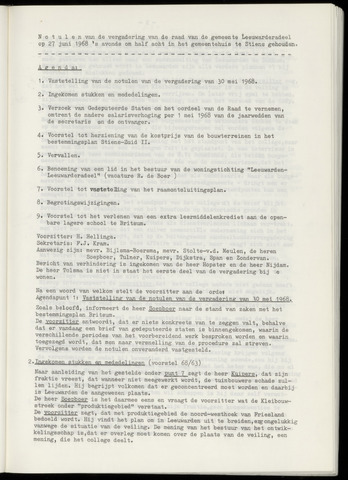 Notulen van de gemeenteraad van Leeuwarderadeel 1968-06-27