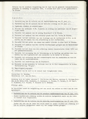 Notulen van de gemeenteraad van Leeuwarderadeel 1970-08-12