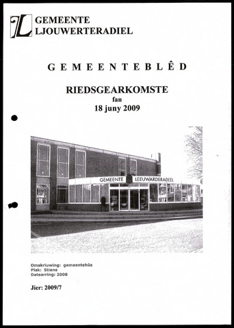 Notulen van de gemeenteraad van Leeuwarderadeel 2009-06-18