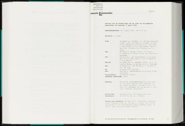 Raadsverslagen van de gemeente Leeuwarden, 1865-2007 (Notulen) 2001-04-09