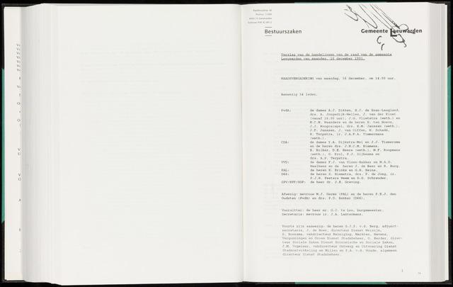Raadsverslagen van de gemeente Leeuwarden, 1865-2007 (Notulen) 1991-12-16