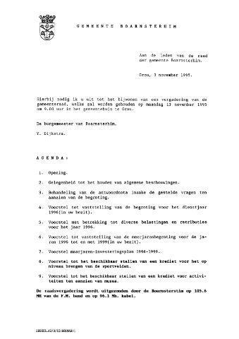 Boarnsterhim vergaderstukken gemeenteraad  1995-11-13
