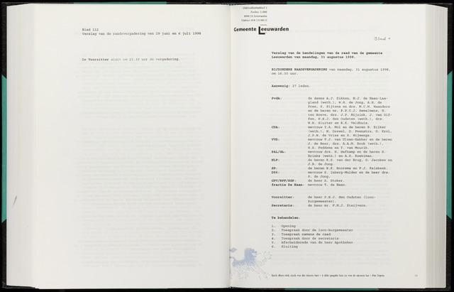 Raadsverslagen van de gemeente Leeuwarden, 1865-2007 (Notulen) 1998-08-31