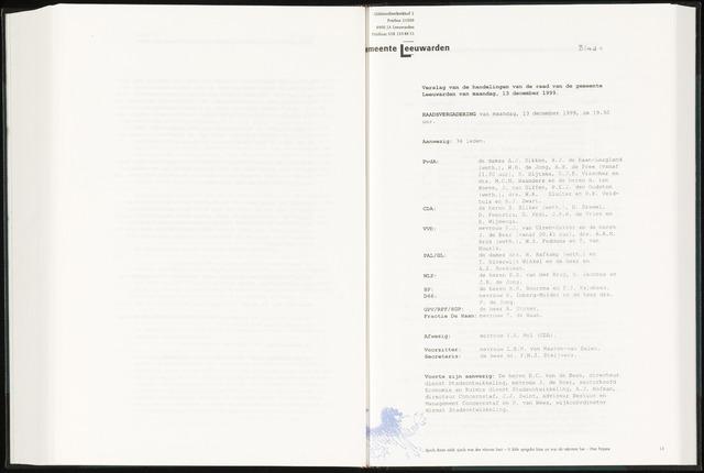 Raadsverslagen van de gemeente Leeuwarden, 1865-2007 (Notulen) 1999-12-13