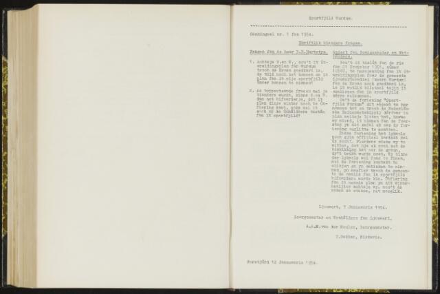 Raadsverslagen van de gemeente Leeuwarden, 1865-2007 (Schriftelijke vragen) 1954