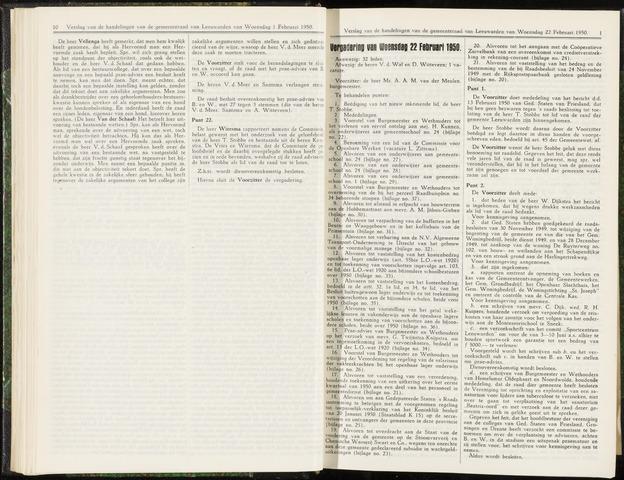 Raadsverslagen van de gemeente Leeuwarden, 1865-2007 (Notulen) 1950-02-22
