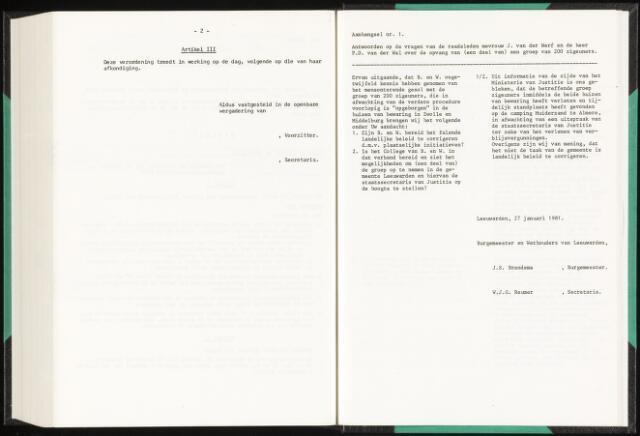 Raadsverslagen van de gemeente Leeuwarden, 1865-2007 (Schriftelijke vragen) 1981